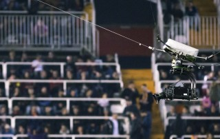 VALENCIA, SPAIN - FEBRUARY 22: Spidercam during La Liga soccer match between Valencia CF and Real Madrid at Mestalla Stadium on February 22, 2017 in Valencia, Spain