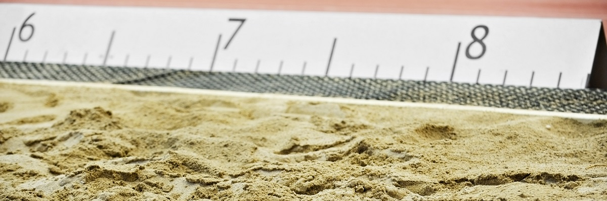 Athletics long jump sand pit with marks